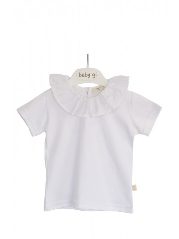 T-SHIRT WITH WHITE FRILLY...