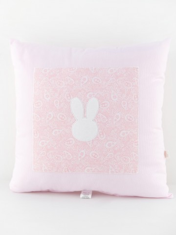 Pink Square Pillow Bunny