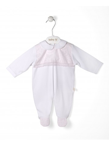 White Cotton Babygrow Lovely Pink