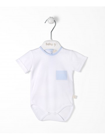 Blue Pocket Cotton Bodysuit
