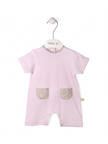 Pink Cotton Romper With Vichy Pockets