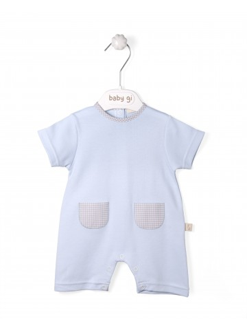 Blue Cotton Romper With Vichy Pockets